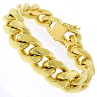 Gold-plated Sterling Silver 17.5mm Solid Miami Cuban Link Bracelet 9 inches