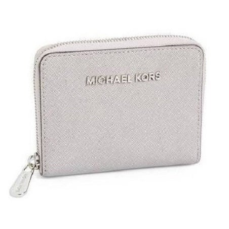 34b7b54c3d8c Shop Michael Michael Kors Saffiano Leather Pearl Grey Zip Wallet - Free  Shipping Today - Overstock - 10518089