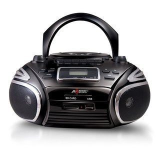 Axxess Portable Boombox with Cassette Recorder/ AM/FM Radio/ CD/ MP3 Player/ USB/ SD Inputs