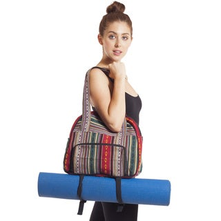 Handmade Vintage Tribal Stripe Gym Bag with Yoga Mat Harness (Nepal)