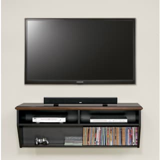 Deluxe Two-tone Wood Veneer Cherry Top 48-inch Wall Mount Hand-finished TV Console