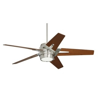 Emerson Luxe Eco 54-inch Walnut Blades Brushed Steel Modern Ceiling Fan