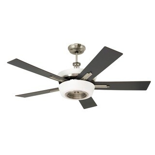 Emerson Laclede Eco 62-inch Brushed Steel Modern Transitional Ceiling Fan with Reversible Blades - Silver