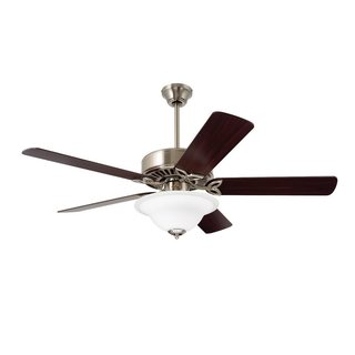 Emerson Pro Series 50-inch Brushed Steel Traditional Ceiling Fan with Reversible Blades - Silver