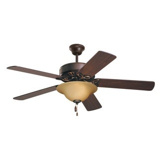 Emerson Pro Series 50-inch Oil Rubbed Bronze Traditional Ceiling Fan with Amber Scavo Glass and Reversible Blades