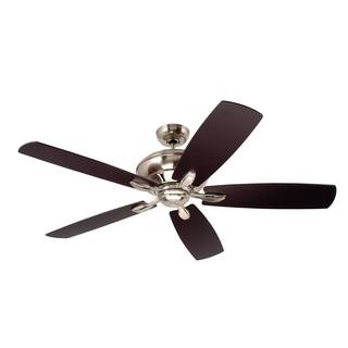 Emerson Crofton 58-inch Brushed Steel Traditional Transitional Ceiling Fan with Reversible Blades