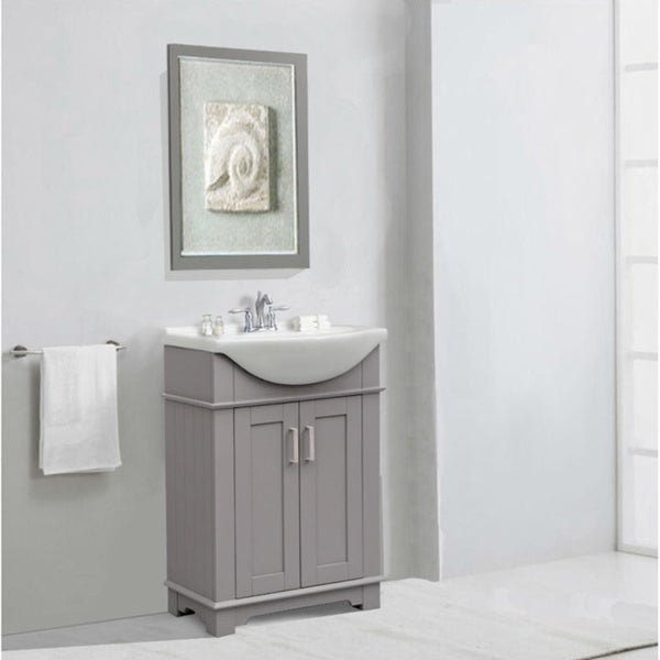 24 Quot Gray Sink Vanity No Faucet Free Shipping Today