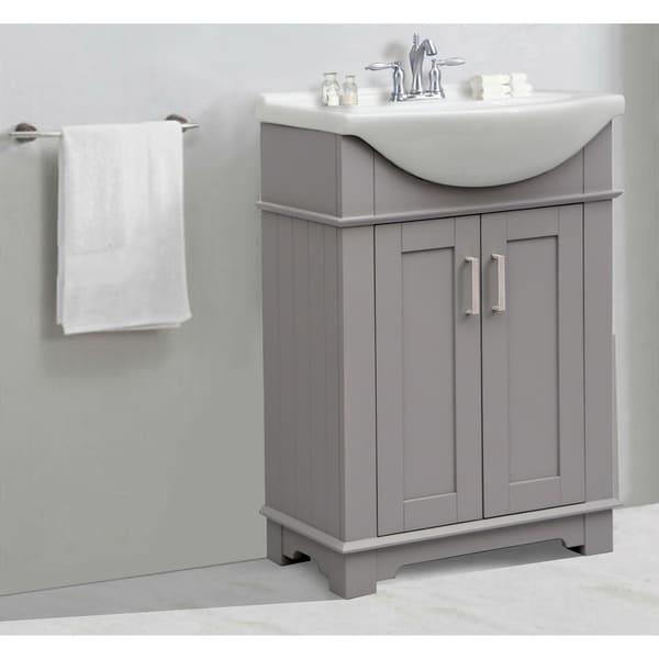 Legion Furniture 24 In Bathroom Vanity In Gray With Ceramic Top
