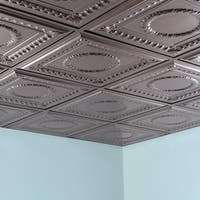 Fasade Rosette Brushed Nickel 2-foot x 2-foot Lay-in Ceiling Tile