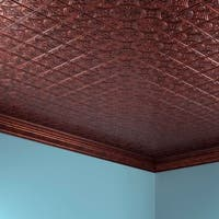 Fasade Traditional Style #1 Moonstone Copper 2-foot x 4. ft Glue-up Ceiling Tile