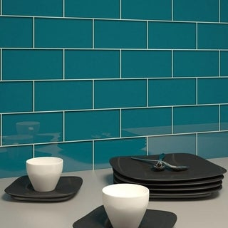 Dark Teal Subway 5.5 Square Foot Tiles (44 Pieces per Unit)