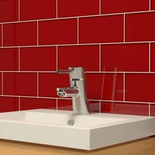 ruby red subway tiles 55 square feet 44 pieces per unit - Bathroom Tiles Red