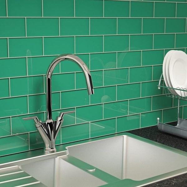 Emerald Green Subway 55 Square Foot Tiles 44 Pieces Per