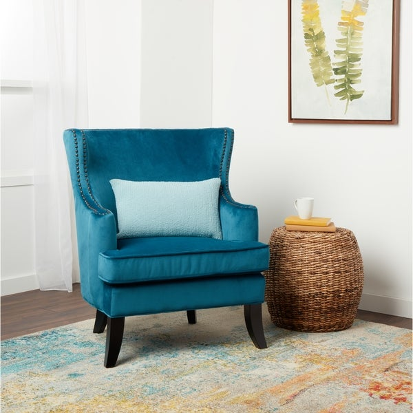 shop abbyson lauren blue velvet nailhead trim accent chair on sale free shipping today. Black Bedroom Furniture Sets. Home Design Ideas