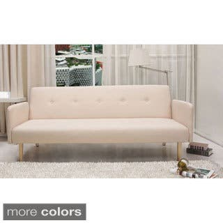 Contemporary Mid Century Beige Tufted Convertible Futon Sofa|https://ak1.ostkcdn.com/images/products/10518431/P17602278.jpg?impolicy=medium