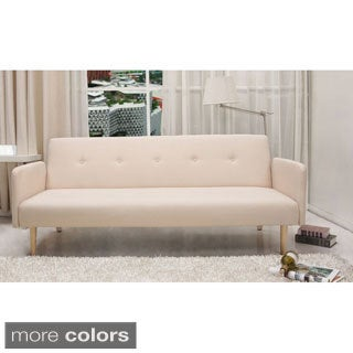 Contemporary Mid Century Beige Tufted Convertible Futon Sofa