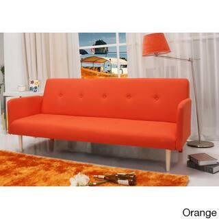 Contemporary Mid Century Beige Tufted Convertible Futon Sofa