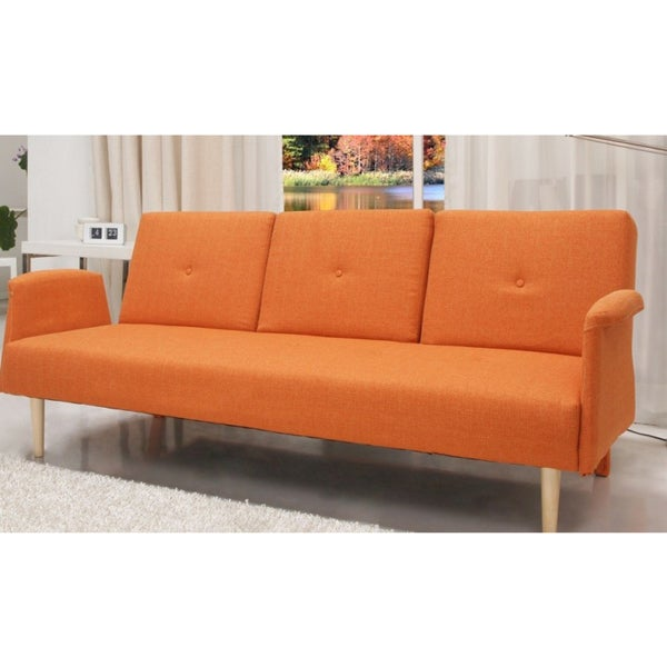 Contemporary home design fabric mid century sofa bed with for Sofa bed overstock