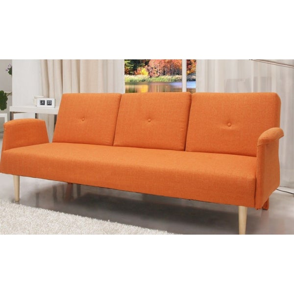 Contemporary Home Design Fabric Midcentury Sofa Bed with Cup