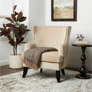 Abbyson Lauren Beige Velvet Nailhead Armchair