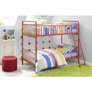 DHP Red Brickmill Iron Twin over Twin Bunk Bed