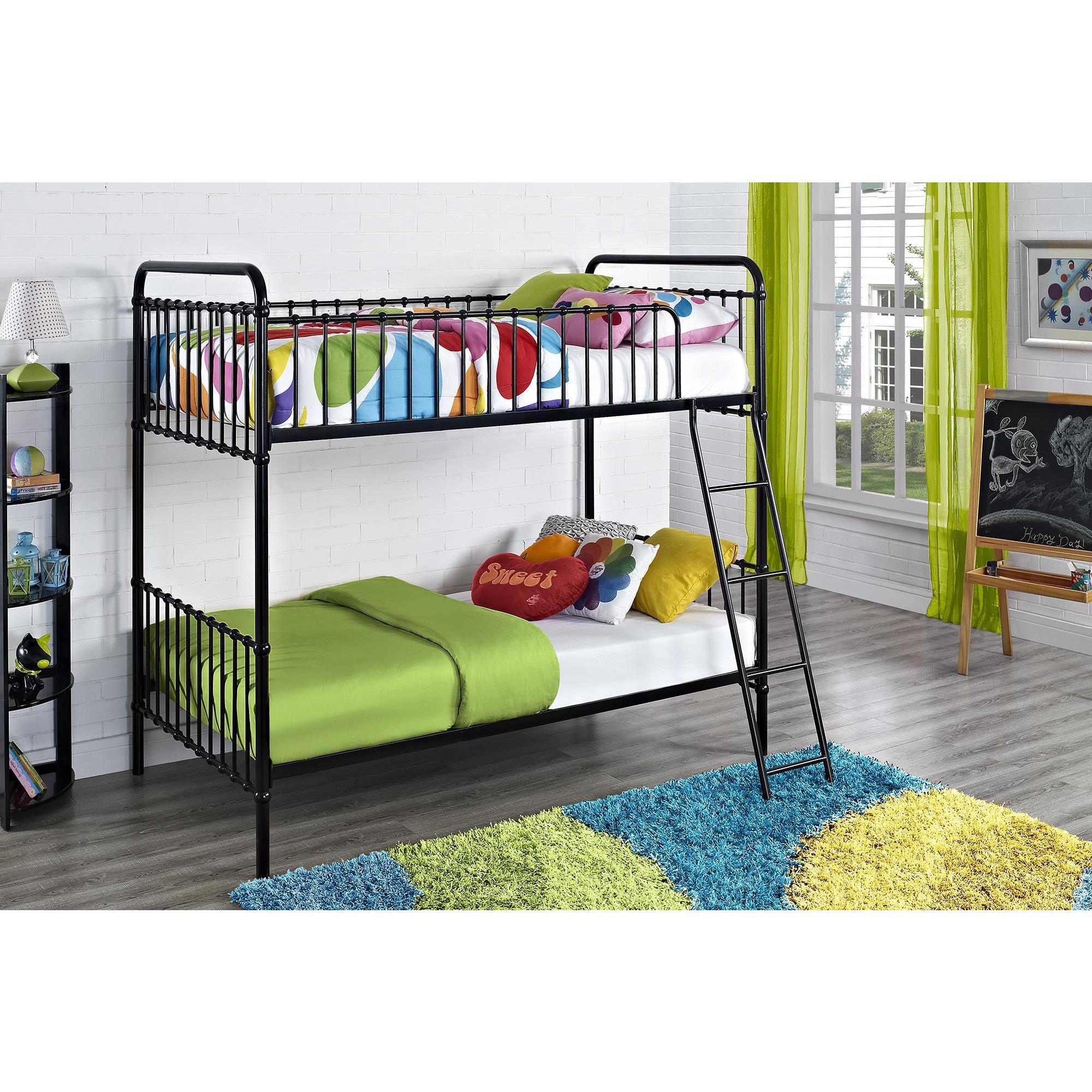 DHP Novo Berkshire Black Iron Twin-over-Twin Bunk Bed (Tw...