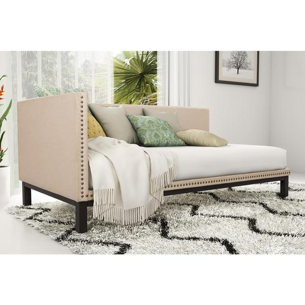 Dhp mid century tan upholstered modern daybed free for Mid century modern day bed