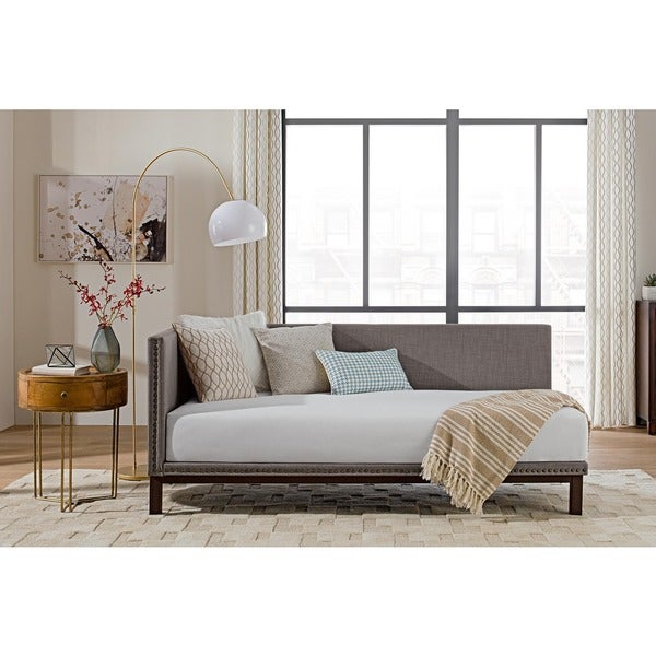 Avenue greene mid century grey upholstered modern daybed for Mid century modern day bed