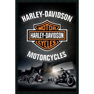 Harley Davidson - Leather' Framed Art Print with Gel Coated Finish 25 x 37-inch