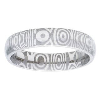 Damascus Steel Men's Half Round 6mm Ring