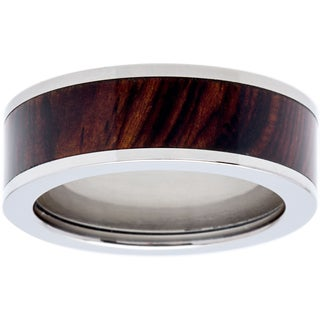Titanium Men's Exotic Wood Cocobolo Inlay 7mm Ring