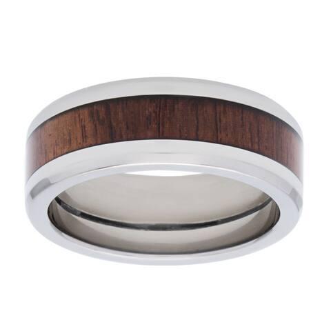 Titanium Men's Exotic Honduras Rosewood Inlay 8mm Ring