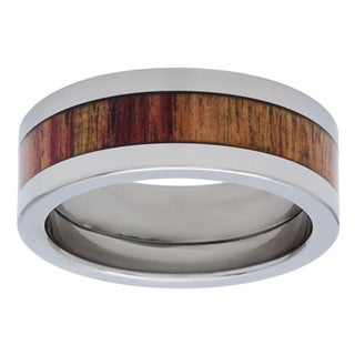 Titanium Exotic Tulip Wood Inlay 8mm Ring