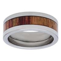 Titanium Exotic Tulip Wood Inlay 8mm Ring