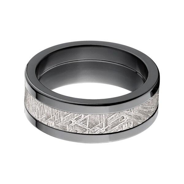 Black Zirconium Mens Meteorite Inlay Ring Free Shipping Today