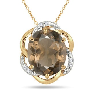 Marquee Jewels 18k Yellow Goldplated Sterling Silver 41/5ct Smoky Quartz Diamond Accent Pendant