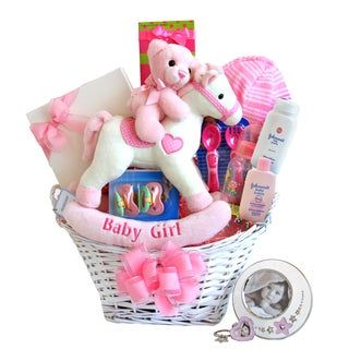 Rockinghorse and Frame Baby Girl Gift Basket