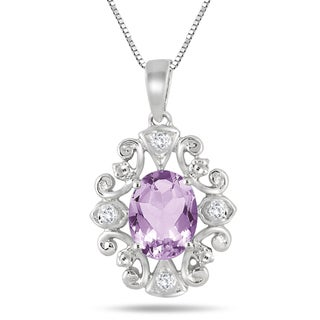 Marquee Jewels Sterling Silver 2 1/6ct Amethyst Diamond Accent Antique Pendant
