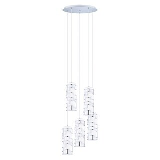 Eglo Bayman 5 x 60-watt Staircase Pendant with Chrome Finish and White Decor Glass