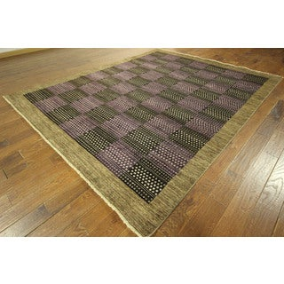 Double-knotted Multi-colored Checkered Hand-knotted Gabbeh Wool Area Rug (8' x 10')