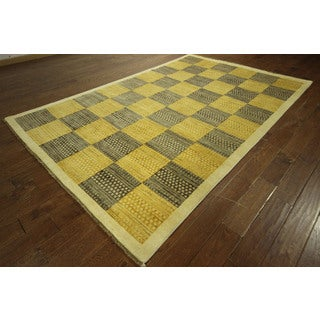 Hand-knotted Earth Tone Checked High KPSI Gabbeh Wool Area Rug (7' x 10')