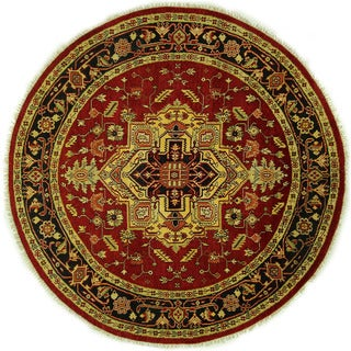 Medallion Vibrant Red Round Heriz Serapi Hand-knotted Wool Area Rug (8' x 8', 8')