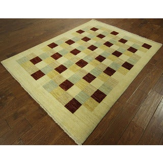 Checkered Multi-colored Hand-knotted Gabbeh Hand-knotted Wool Area Rug (6' x 8')