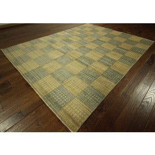 Multi-colored Checker Double-knotted Gabbeh Hand-knotted Wool Area Rug (8' x 10')