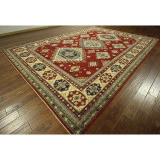 Unique Bold Red Diamond Motif Super Kazak Hand-knotted Wool Area Rug (10' x 14')