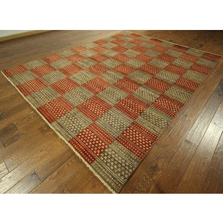 Multi-colored Checked Double-knotted Gabbeh Hand-knotted Wool Area Rug (8' x 11')
