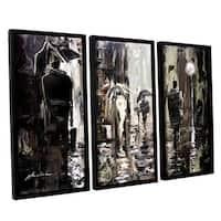 ArtWall Milen Tod 'Rain' 3 Piece Floater Framed Canvas Set