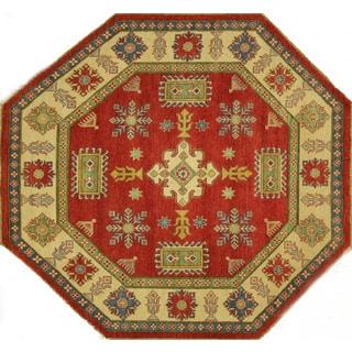 Original Hand-knotted Octagon Wool Super Kazak Red-Ivory Border Rug (7', 7' x 7')
