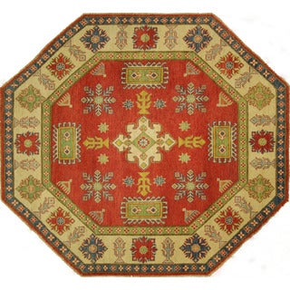 Octagon Vegetable Dyed Geometric Red Super Kazak Hand-knotted Wool Rug (7', 7' x 7')