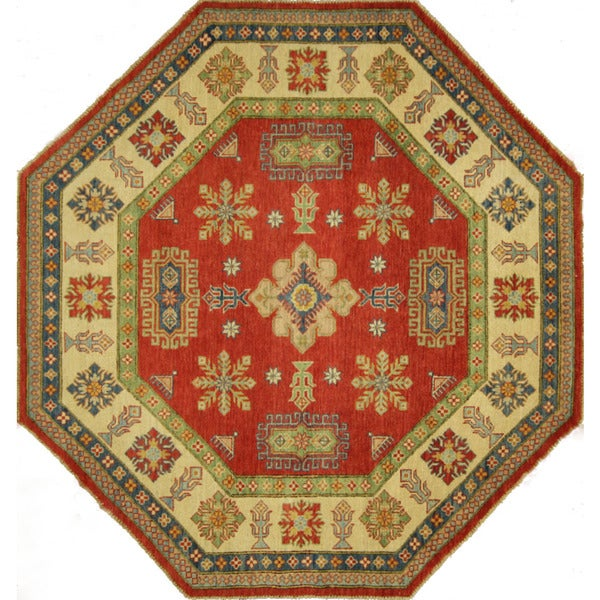 Octagon Hand Knotted Wool Super Kazak Oriental Red Ivory